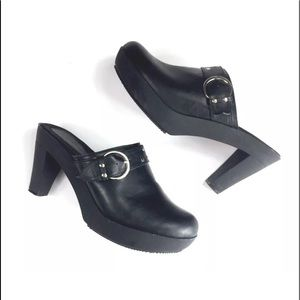 Cloud Walkers Hannah Clog Block Heel Black Sz 10W